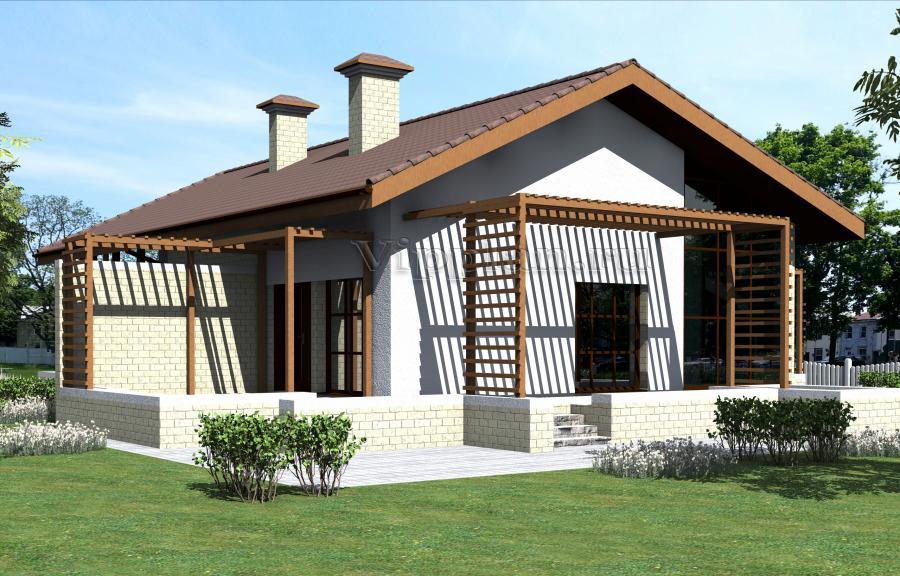 Проект небольшого одноэтажного дома из газоблоков Проект небольшого одноэтажного дома из
